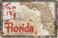 Come to Florida by Vintage Vacation Art Print Gulf of Mexico Poster 13x19