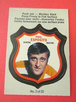 1972-73 O-Pee-Chee OPC Phil Esposito Crest 2 of 22, Boston Bruins Near Mint
