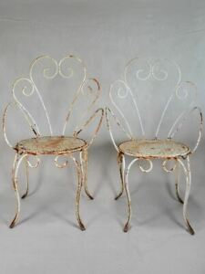 Pair of antique French garden armchairs - iron with white patina