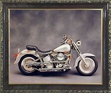 Silver Harley Davidson Motorcycle Wall Art Decor Mahogany Black Framed Picture