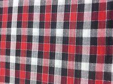 SCOTTISH TARTAN FABRIC RED,BLACK,GRAY AND WHITE  W.144 CM L.100 CM