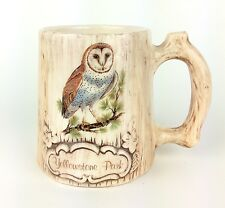 Vintage Yellowstone National Park Log Owl Hand Painted Coffee Mug Cup Made in US