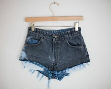 Vintage LEVI'S Dyed Blue Wash High Waisted Rise Cut Offs Denim Shorts - 24/25
