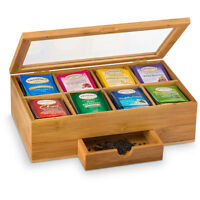 Bamboo Tea Box with Magnetic Closing Lid 8 Storage Sections & Expandable Drawer