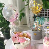 2x Mini Sequin Confetti Glitter Balloon Cake Toppers Birthday Wedding Cake Decor