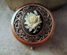 Handmade Victorian Oxidized Copper Rose Compact Mirror