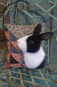 ANTIQUE QUILT MINI PILLOW W HANDCRAFTED DUTCH RABBIT ~ By Renate'