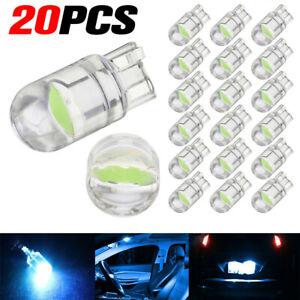 20x T10 LED COB Ice Blue Wedge Car Interior Light Dome Reading Lamp Map Bulb W5W