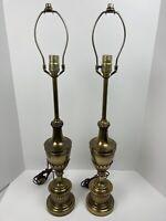 Vintage MCM Pair Of Brass Stiffel Hollywood Regency Lamps Trophy Urn Style