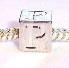 Alphabet Letter P Cube Square Initial Bead fits Silver European Charm Bracelets