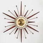 Rare Mid Century Modern STARBURST WALL CLOCK by SNIDER 1960s Sunburst Vintage