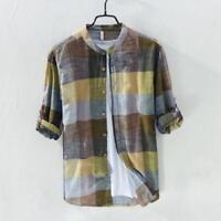 Mens 100% Linen Shirts Patchwork Long Sleeve Mandarin Collar Shirt Tops Summer