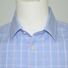 CHARLES TYRWHITT Extra Slim Fit Blue Plaid Cotton Dress Shirt Sz 16 - 33