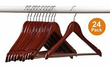 Home-it 24 Pack Solid Wood Clothes Hangers, Coat Hanger Mahogany Wooden Hangers