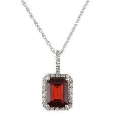 10k White Gold 2.20ct Emerald-Cut Garnet and Diamond Pendant Necklace