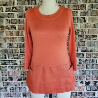 Anthropologie Moth Sweater XS Wool Blend  Orange Thin Knit Scoop Neck 3/4 Sleeve