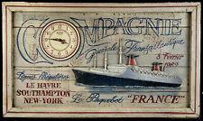 Horloge murale vintage - Voyage inaugural PAQUEBOT FRANCE Le Havre New-York 1962