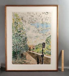 Large 1975 Vintage PAUL TATSUMI NAGANO Boston Park Watercolor Painting, NR
