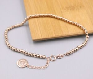 Solid 18K Rose Gold 2.5mm Glossy Bead Link Bracelet 7.67 Inch Summer-Gift