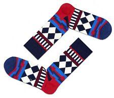 GIFTS FOR MEN Happy Mens Pair DT01-045 Disco Tribe Socks Blue Red UK 7½-11½