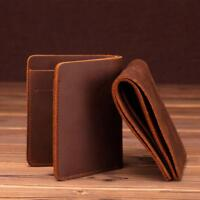 Leather Wallet Men Handmade Short Coin Pockets Minimal Genuine Retro Male Purse
