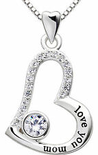 "ALOV Silver ""love you mom"" Heart Pendant Necklace for Birthday Mother's day Gift"