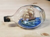 Vintage Handmade Haig Dimple Ship In A Bottle