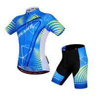 Hot Mens Short Sleeve Suit Jersey Shorts Padded Sports Bike Cycling Racing Suit