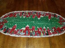 Vintage Oval Linen 21X46 Christmas Table Runner Castle Jesters Musicians Dancers
