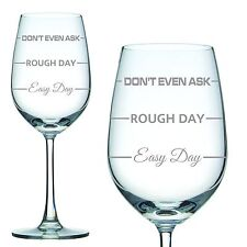 Engraved 350ml White Wine Glass 'Easy Day Rough Day' Mothers Day Gift Birthday