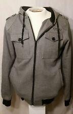 Ezekiel Men Jacket zip Hoodie Sweater Chevron Grey & Black embroidered Logo M