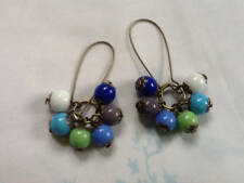 Czech Glass Cluster Earrings Blue Green White Opaque Druk Beads Art Deco Dangle