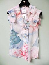 Chanel Pastel Pink Blue Flower Print Ruffle Trim CC Button Shirt Top 34 NWT 13C