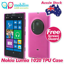 Pink Jelly TPU Gel iSkin Case Cover for Nokia Lumia 1020 Screen Protector