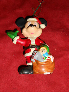 Vintage Disney Mickey Mouse Santa Outfit Christmas Ornament