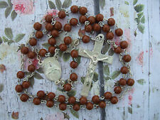 "Antique Vintage Catholic Rosary Brown Beads 5mm 15 1/2"" from Mexico"