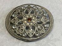 Large circular silvertone rhinestone belt buckle