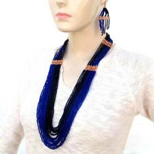 NEW STATEMENT DEEP BLUE HANDMADE NECKLACE EARRINGS  SET S35/7