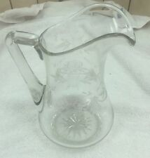 Early Antique Hand Made Blown Engraved Art Glass Pitcher Vase 11in 45oz