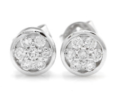 0.25Ct Natural SI1 Diamond 14k Solid White Gold  Earrings