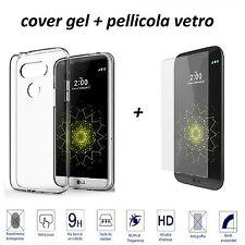 CUSTODIA COVER GOMMA  SILICONE TRASPARENTE PER LG G5 + PELLICOLA VETRO TEMPERATO