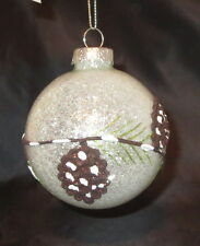 Pine Cones Christmas Tree Glass Ball Ornament Glittery Branch Snow Winter New