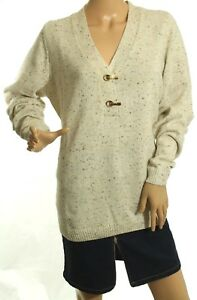 Charter Club Women's Metallic Oatmeal Henley Sweater Size 0X Retail