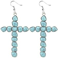 New Large Turquoise Stone Cross Earrings Western Style Jewelry