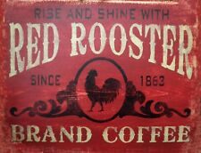 "TIN SIGN ""Red Rooster Coffee"" Caffeine  Signs  Rustic Wall Decor"