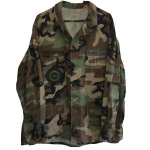 Mens Vintage Military BDU Shirt EXTRA LARGE Long Woodland Camo US Air Force