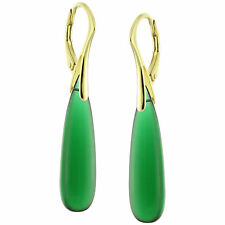 14k Yellow Gold Over Silver Natural Smooth Emerald Quartz Leverback Earrings