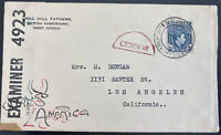 1944 Buea British Cameroon Military Mail Censored Cover To Los Angeles CA USA