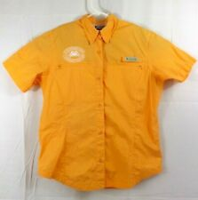 Columbia Womens Button Front Shirt Sm Vented Orange Embroidered