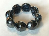 Vintage Carved Half-Bead Glass Expandable Stretch Bracelet, 6""